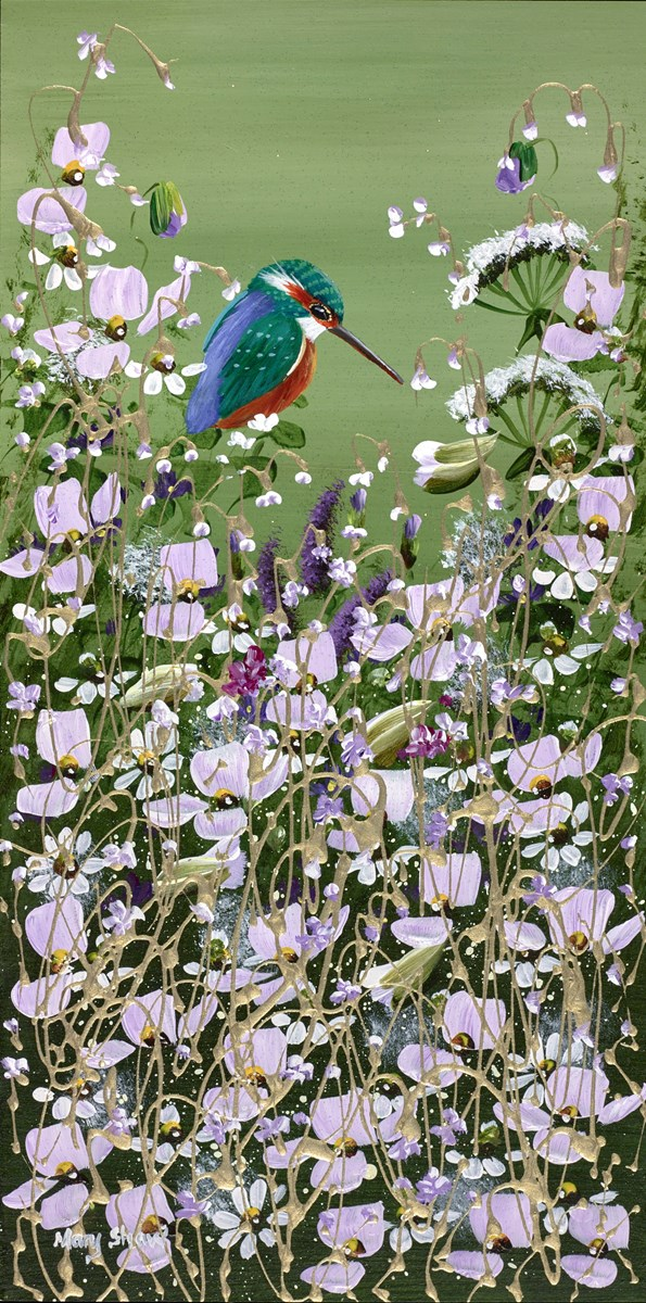 Kingfisher and Flowers I by mary shaw -  sized 8x16 inches. Available from Whitewall Galleries